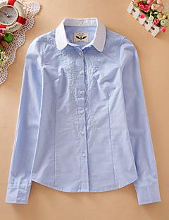 Feminino Camisa Social Casual SimplesEstampado / Bordado Azul / Branco Algodão Colarinho de Camisa Manga Longa
