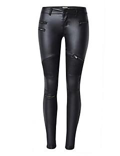 Feminino Skinny Chinos Calças-Cor Única Bandagem / Casual Moda de Rua / Simples Cintura Média Botão PU Micro-Elástico Com Molas / Outono