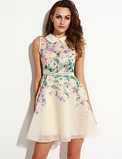 Women's Going out Street chic A Line Dress,Floral Peter Pan Collar Above Knee Sleeveless Beige Cotton / Spandex Summer
