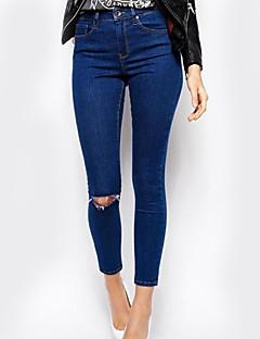 Dames Skinny Jeans Broek,Effen Casual/Dagelijks Eenvoudig Hoge taille Knoop Polyester Micro-elastisch Herfst / Winter