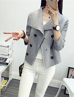 Normal Cardigan Arbeid / Ferie Vintage / Gatemote / Sofistikert Dame,Ensfarget Rosa / Rød Skjortekrage Langermet Bomull Høst / Vinter