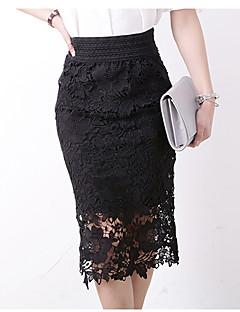 Bodycon Nederdele-Dame Plus Størrelser Ensfarvet Udskæring-Enkel Højtaljede Casual/hverdag Midi Elasticitet Polyester Mikroelastisk
