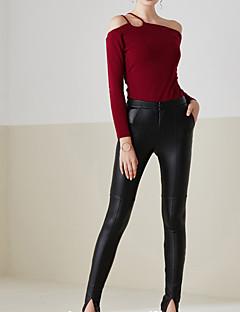 Femme Slim Jeans Pantalon,simple Décontracté / Quotidien Couleur Pleine Taille Normale Elasticité PU Micro-élastique Sangle / Automne
