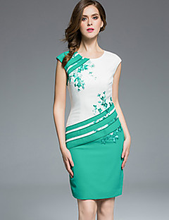 Women's Casual/Daily Plus Size Chinoiserie Sheath Dress,Embroidered Round Neck Above Knee Sleeveless Green Purple Polyester SummerMid