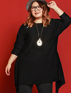 JAZZ  Women's Plus Size / Casual/Daily Simple Fall ShirtSolid Round Neck  Sleeve Black Polyester