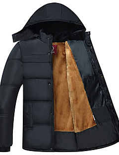 Men's Regular Padded CoatSimple Casual/Daily Solid-Cotton / Polyester Polypropylene Long Sleeve Hooded Black K298