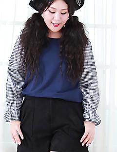 Mujer Simple Noche / Tallas Grandes Primavera Camiseta,Escote Redondo Retazos Manga Larga Algodón Azul