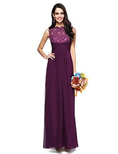 2017 Lanting Bride® Floor-length Chiffon / Lace Elegant Bridesmaid Dress - A-line High Neck with Criss Cross