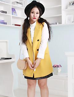 Damen Solide Einfach Lässig/Alltäglich / Übergröße Jacke,Frühling / Herbst V-Ausschnitt Ärmellos Gelb Mittel Acryl