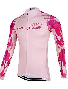QKI Pink Camouflage Cycling Jersey Women's Long Sleeve Bike Breathable / Quick Dry / Anatomic Design / Front Zipper / Sweat-wicking Jersey Polyester