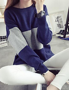 Women's Going out Cute Regular Pullover,Color Block Blue Pink Round Neck Long Sleeve Polyester Winter Medium Micro-elastic