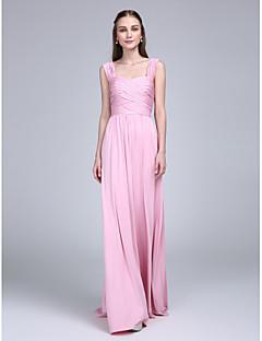 LAN TING BRIDE Floor-length Straps Bridesmaid Dress - Elegant Sleeveless Jersey