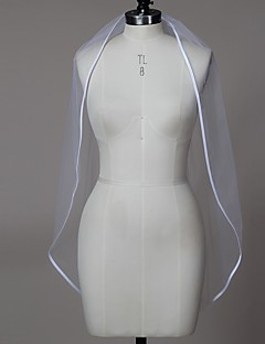 Wedding Veil One-tier Elbow Veils Ribbon Edge Tulle