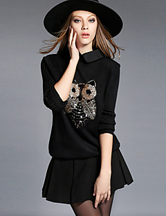 Damen Standard Pullover-Übergröße Lässig/Alltäglich Einfach Stickerei Hemdkragen Langarm Kunstseide Polyester Herbst Winter Mittel Dehnbar