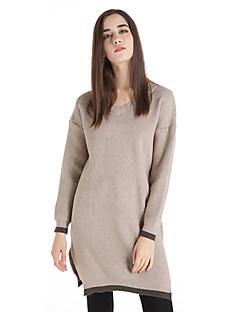 Dame Vintage Casual/hverdag Lang Pullover Ensfarvet,Rosa / Beige / Sort / Brun / Grøn V-hals Langærmet Uld Vinter Medium Mikroelastisk
