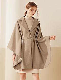 V-hals Langærmet Medium Dame Brun Ensfarvet Efterår / Vinter Simpel I-byen-tøj Cloak / Capes,Polyester