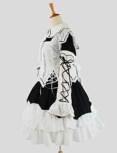 Jednodílné/Šaty Punk Lolita Elegantní Cosplay Lolita šaty Jednobarevné Dlouhé rukávy Po lýtka Šaty Pro Bavlna