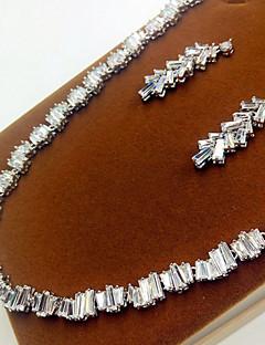 Бижутерия Ожерелья Серьги Для вечеринок Циркон 1 комплект Женский Серебряный Свадебные подарки