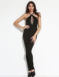 婦人向け セクシー ポリエステル / スパンデックス ジャンプスーツ,伸縮性あり 薄手 ノースリーブ