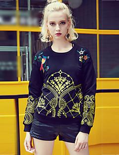 Damen Pullover Lässig/Alltäglich Ausgehen Punk & Gothic Stickerei Rundhalsausschnitt Mikro-elastisch Baumwolle Langarm Herbst Winter