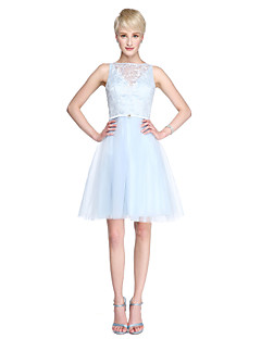 2017 Lanting Bride® Knee-length Lace Tulle See Through Bridesmaid Dress - A-line Bateau with Sash / Ribbon Crystal Brooch