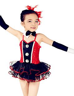 Danse classique Robes Enfant Spectacle Elasthanne Polyester Organza Paillété Nœud papillon Robe pan volant 5 Pièces Sans mancheTaille