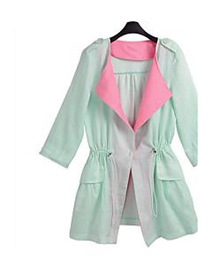 אחיד צווארון חולצה פשוטה יום יומי\קז'ואל / מידות גדולות בלשית נשים,ירוק שרוול ארוך פוליאסטר