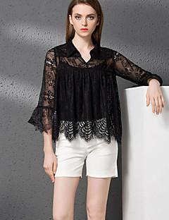 3/4 ærmelængde V-hals Dame Sort Ensfarvet Efterår Simpel Casual/hverdag T-shirt Bukse Suits,Bomuld / Polyester
