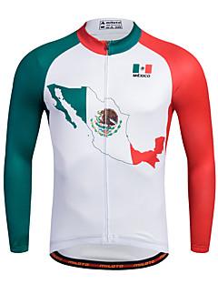 Esportivo Camisa para Ciclismo Homens Manga Comprida MotoRespirável Secagem Rápida Permeável á Humidade Zíper Frontal Redutor de Suor