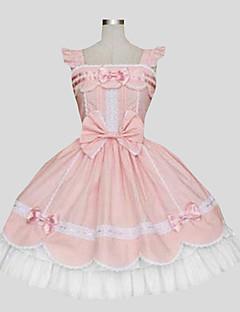 One-Piece/Dress Sweet Lolita Princess Cosplay Lolita Dress Pink Solid Sleeveless Knee-length Dress For Women Cotton