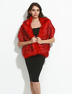 Women's Faux Fur Scarf,Vintage Party RectangleSolid