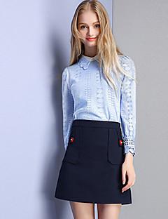 Damen Solide Einfach Lässig/Alltäglich Hemd,Hemdkragen Herbst Langarm Blau Baumwolle Nylon