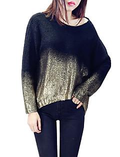 Dame Street I-byen-tøj Casual/hverdag Normal Pullover Farveblok,Guldfarvet Sølvfarvet Rund hals Langærmet Polyester Forår Efterår Medium