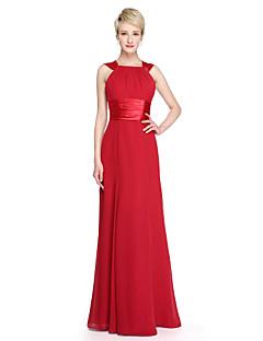 Lanting Bride® Longo Chiffon Cetim Elástico Elegante Frente Única Vestido de Madrinha - Tubinho Alças comLaço(s) Faixa / Fita Franzido