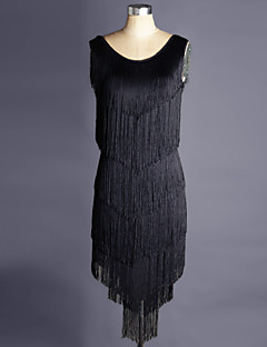 라틴 댄스 드레스 여성용 성능 스판덱스 오르간자 술 1개 민소매 내츄럴 드레스 S:85-95cm/M:85-95cm/L:85-95cm/XL:85-95cm/XXL:85-95cm