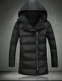 Men's Regular Padded Coat,Simple Going out Solid-Polyester Polyester Long Sleeve Hooded Black