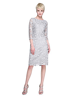 Lanting Bride® Térdig érő Csipke Nyitott hátrész Koszorúslány ruha - Szűk szabású Ékszer val vel Csipke