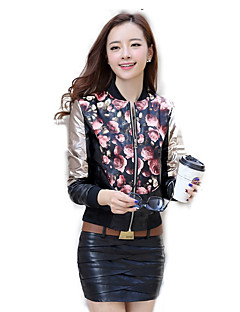 Women's Casual/Daily Simple Leather Jackets,Floral Stand Long Sleeve Winter Pink / Red / Yellow Special Leather Types Medium