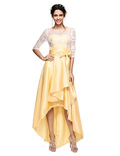 2017 Lanting bride® asymetrické krajka / taft otevřít zadní družička šaty - na linii šperk s lukem (y)