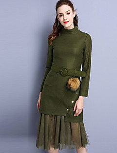 Langærmet Høj krave Dame Grøn Ensfarvet Efterår Simpel Casual/hverdag T-shirt Skjørte Suits,Polyester