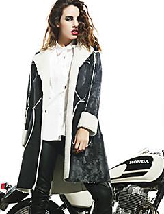 Veste Femme,Couleur Pleine Décontracté / Quotidien Chic de Rue Manches Longues Revers Cranté Noir Fausse Fourrure Polyester Moyen Hiver