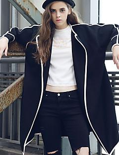 Dámské Jednobarevné Běžné/Denní Jednoduché Trenčkot-Polyester Spandex Zima Košilový límec Dlouhý rukáv Bílá Černá