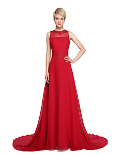 Lanting Bride® שובל קורט שיפון גב פתוח אלגנטי שמלה לשושבינה  - גזרת A עם תכשיטים עם אפליקציות
