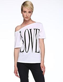 婦人向け カジュアル/普段着 夏 Tシャツ,シンプル スラッシュ度ネック プリント ホワイト ポリエステル 半袖 薄手