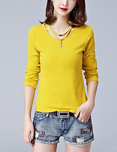 T-shirt Da donna Casual Moda città Primavera / Autunno,Tinta unita Rotonda Cotone Bianco / Nero / Giallo Manica lunga Medio spessore