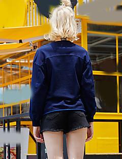 Dame Afslappet/Hverdag Aktiv Simpel Sweatshirt Bogstaver Broderi Rund hals Bomuld Mikroelastisk Langærmet Efterår Vinter