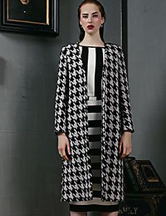 Damen Hahnentrittmuster Einfach Lässig/Alltäglich Mantel,Herbst Winter V-Ausschnitt Langarm Rot Schwarz Wolle Polyester