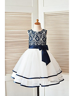 A-Line Knee Length Flower Girl Dress - Lace Tulle Sleeveless Scoop Neck with Ribbon