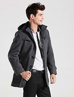Masculino Casaco Longo Casual / Tamanhos Grandes Moda de Rua Outono / Inverno, Sólido Preto / Cinza Algodão Colarinho de Camisa-Manga