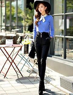 Femme Mince Slim Chino Pantalon,simple Street Chic Punk & Gothic Sortie Décontracté / Quotidien Travail Couleur Pleine Fendue Taille Haute